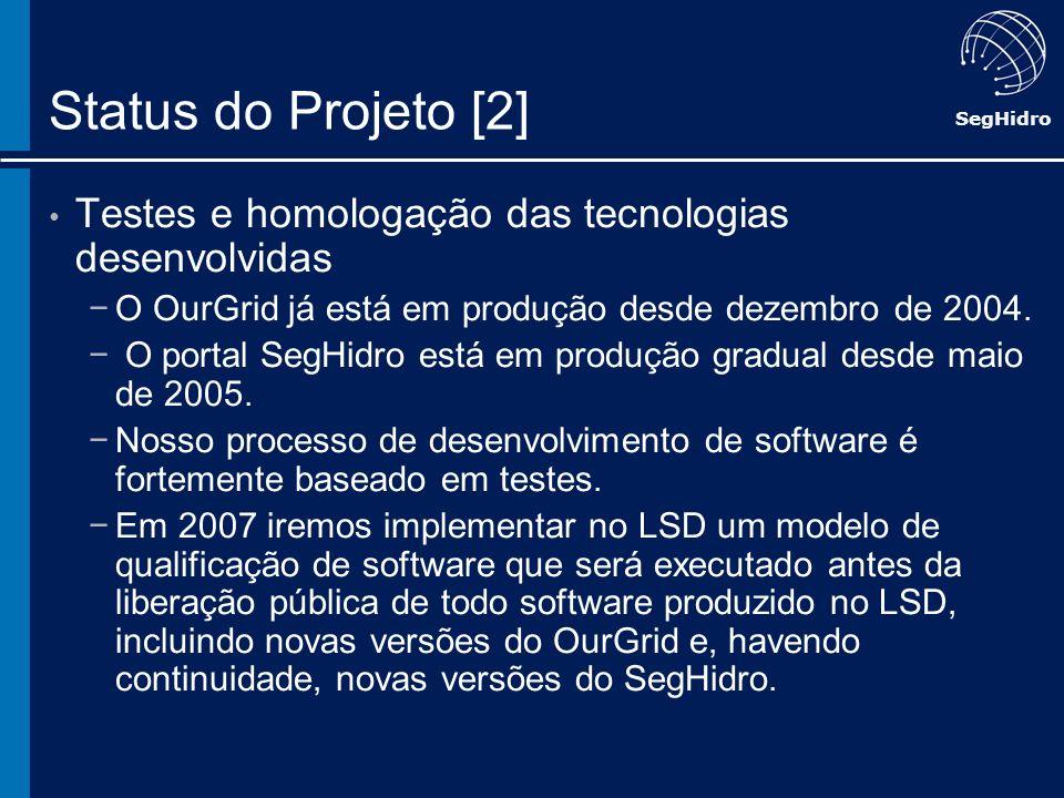 Status do Projeto [2]Testes e homologação das tecnologias desenvolvidas. O OurGrid já está em produção desde dezembro de 2004.